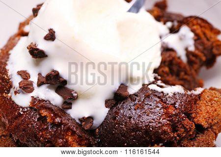 Chocolate lava cake with ice-cream, close-up