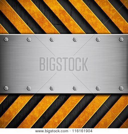 Metal Texture With Yellow Stripes