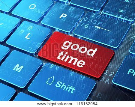 Timeline concept: Good Time on computer keyboard background