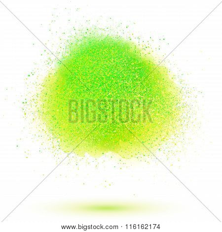 Green paint powder cloud isolated on white background