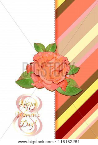 Greeting Card With Rose On Red Striped Floral Pattern For International Women's Day. March 8