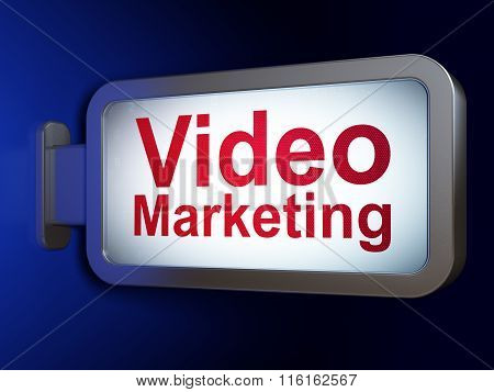 Advertising concept: Video Marketing on billboard background