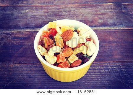 A Plate With Dried Fruits, Candied Fruits And Nuts