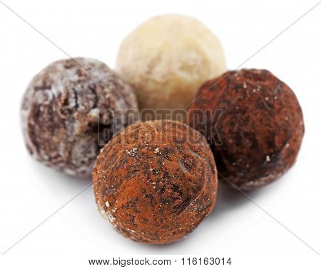 Collection of chocolate truffles, isolated on white