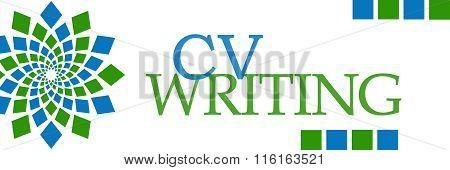 CV Writing Green Blue Squares Horizontal