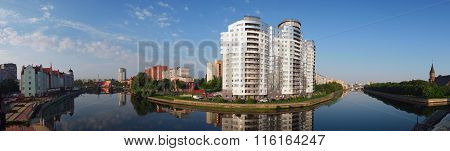 The Center Of Kaliningrad And Pregolya River, Panorama