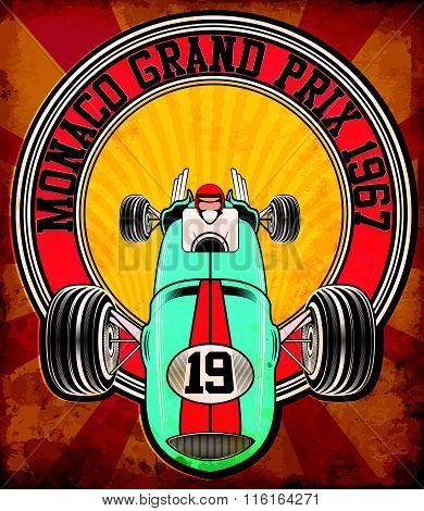 Vintage Race Car For Printing.vector Old School Race Poster.retro Race Car Set