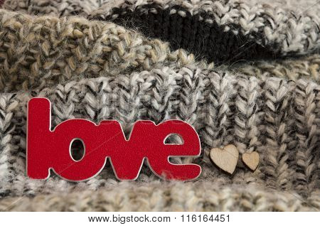 I love you. symbol of love, in knitted woolen scarf