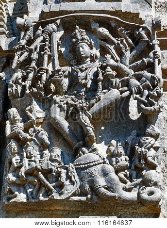 BELUR KARNATAKA/INDIA December 30, 2015: Statue of Lord Shiva at Chennakesava temple
