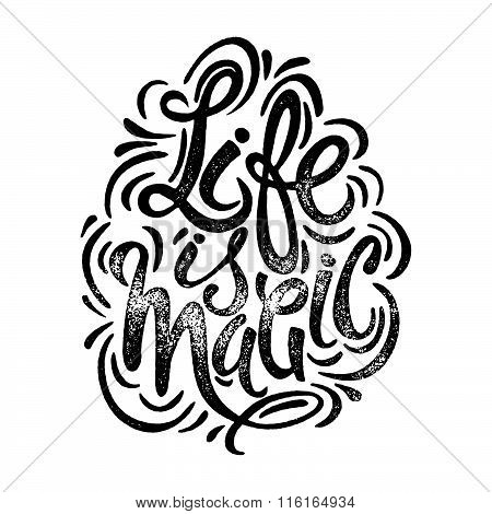 Life Is Magic Concept Hand Lettering Motivation Poster.