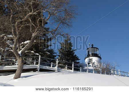 Lighthouse Amid Snow and Trees on Hill