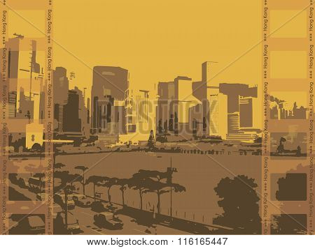 Illustration, The City Of Hong Kong On A Yellow Background.