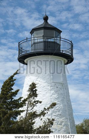 White Stone Lighthouse Tower In Massachusetts