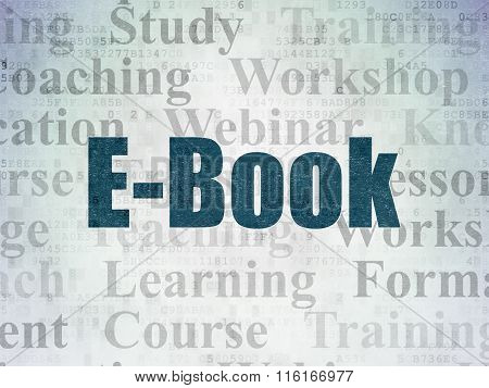 Learning concept: E-Book on Digital Paper background