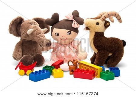 Child soft toys and playing cubes
