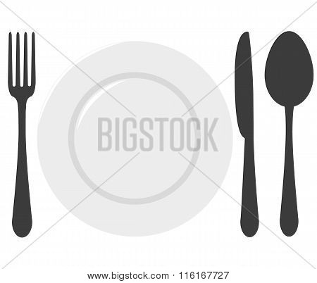 a spoon, a fork, a knife and a plate