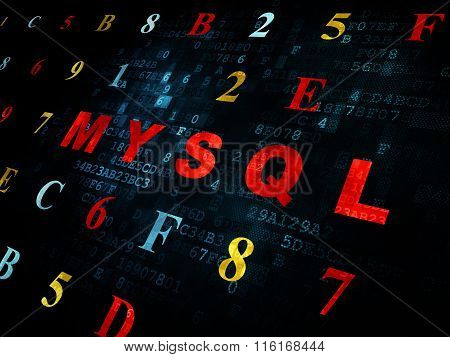 Database concept: MySQL on Digital background