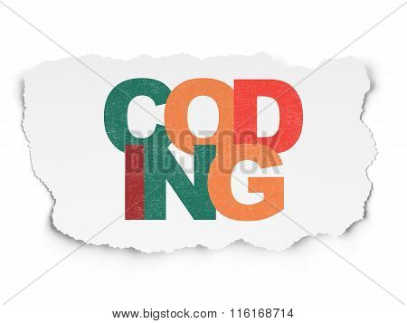 Software concept: Coding on Torn Paper background