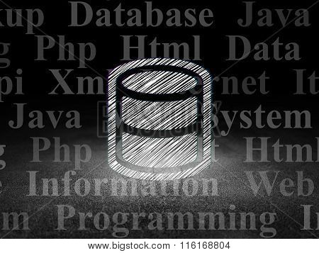 Software concept: Database in grunge dark room