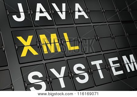 Programming concept: Xml on airport board background
