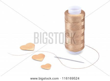 Gold Thread, needle and hearts