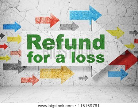 Insurance concept: arrow with Refund For A Loss on grunge wall background