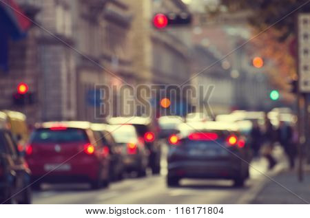 Road with cars in traffic rush