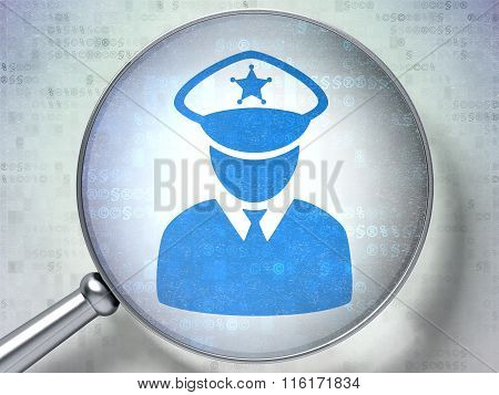 Law concept: Police with optical glass on digital background
