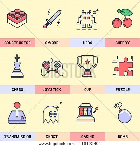 Set of vector icons in the flat style.