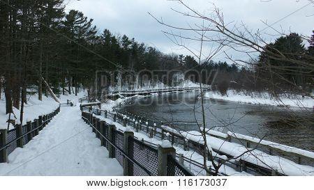 Ludington State Park-river walk in winter