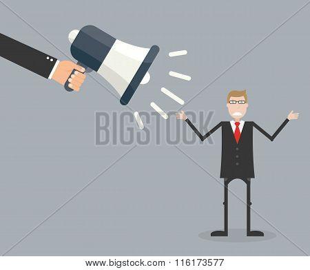 Boss Screaming In Megaphone At Employee. Vector