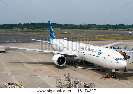 Garuda Indonesia Plane On Airport Tarmac