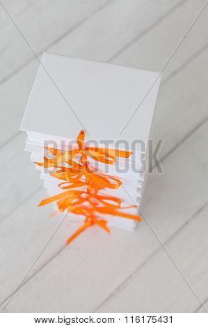 White Gift Boxes On A White Wooden Background. White Gift Boxes.