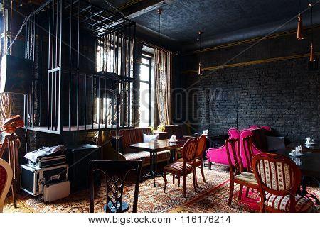 GRODNO, BELARUS - NOV 07:  The vintage interior in absence of visitors in Gudini bar, Grodno, Belarus on November, 07, 2015