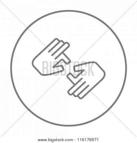 Finger language line icon.