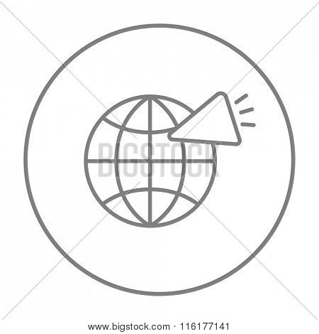 Globe with loudspeaker line icon.