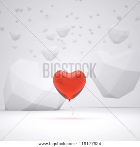Heart shaped balloon at abstract field with lowpoly heart shapes