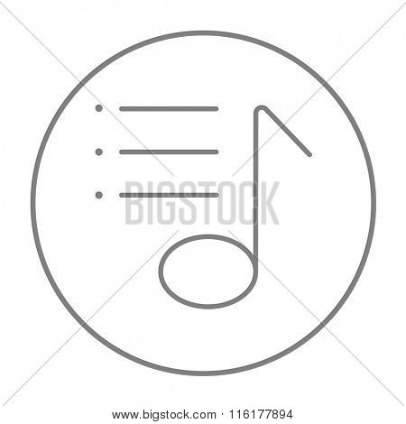 Musical note line icon.