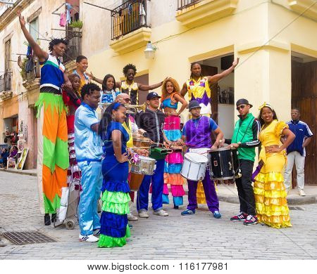 HAVANA, CUBA- JANUARY 24, 2016 : Musicians and street dancers in Old Havana