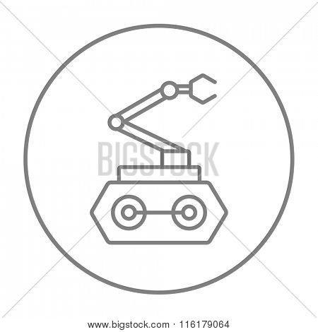 Industrial mechanical robot arm line icon.