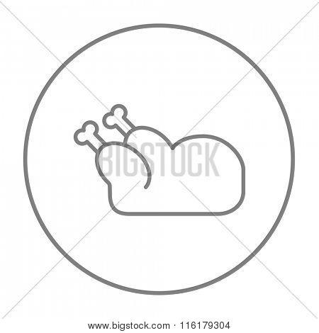 Raw chicken line icon.