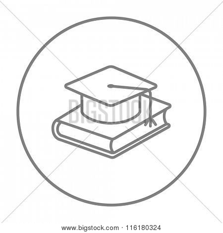 Graduation cap laying on book line icon.