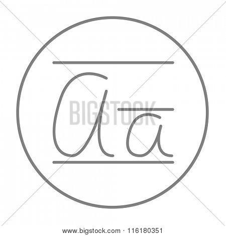 Cursive letter a line icon.