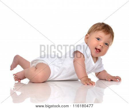Infant Child Baby Girl In Diaper Lying Happy Smiling Looking At The Camera