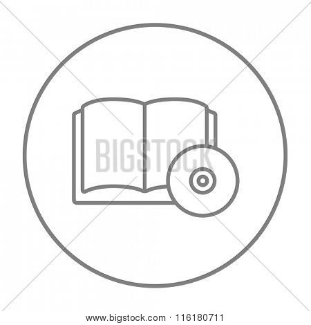 Audiobook and cd disc line icon.
