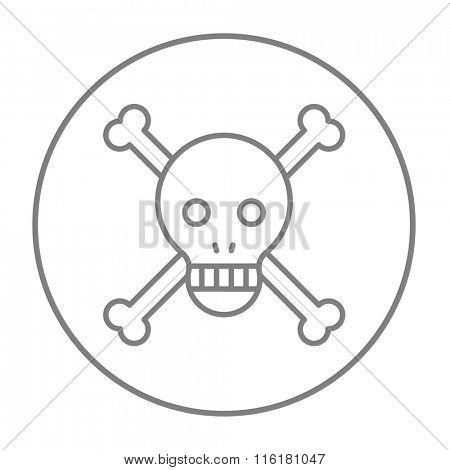 Skull and cross bones line icon.