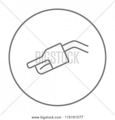 Gasoline pump nozzle line icon.