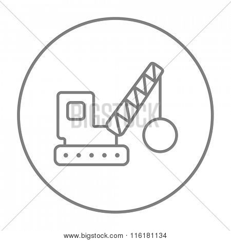 Demolition crane line icon.