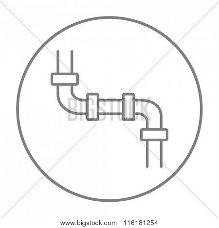 Water pipeline line icon.