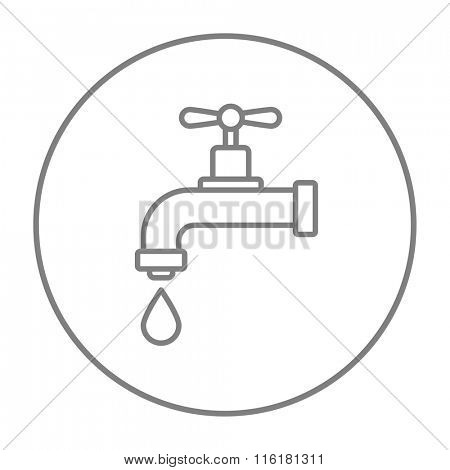 Dripping tap with drop line icon.